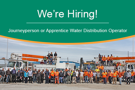 We're hiring a Journeyperson or Apprentice Water Distribution Operator.